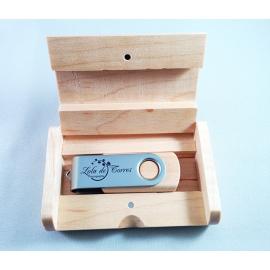 PACK USB TWIST COMBI & Caja de madera redondeada