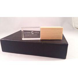 memoria USB Cristal Madera