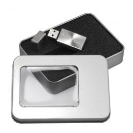 Caja de metal con ventana Y LOGOTIPO